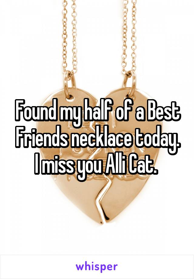 Found my half of a Best Friends necklace today. I miss you Alli Cat.