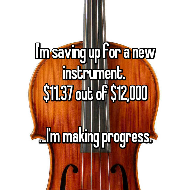 I'm saving up for a new instrument.  $11.37 out of $12,000  ...I'm making progress.