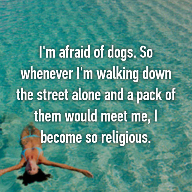 I'm afraid of dogs. So whenever I'm walking down the street alone and a pack of them would meet me, I become so religious.