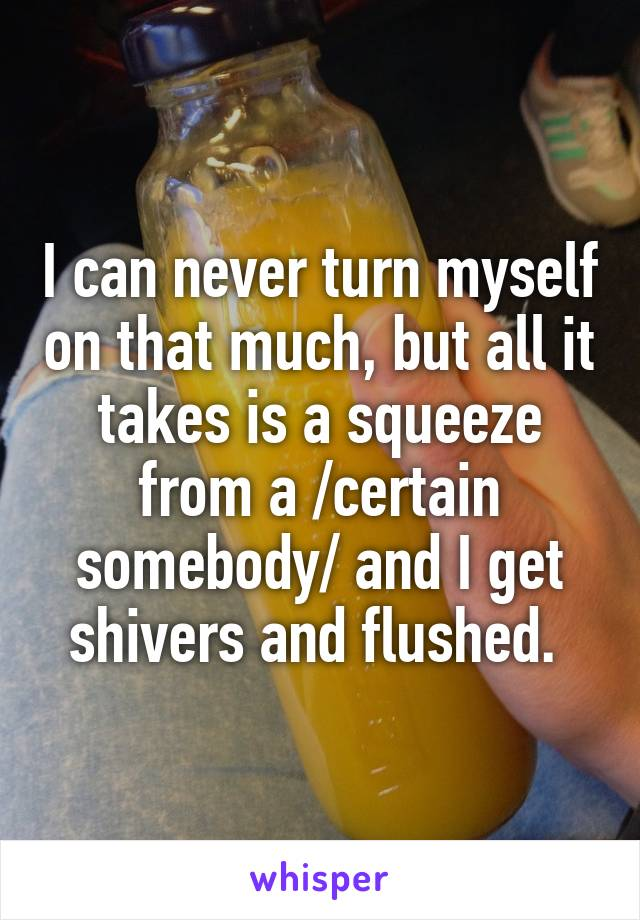 I can never turn myself on that much, but all it takes is a squeeze from a /certain somebody/ and I get shivers and flushed.