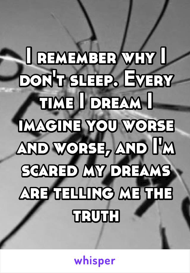 I remember why I don't sleep. Every time I dream I imagine you worse and worse, and I'm scared my dreams are telling me the truth