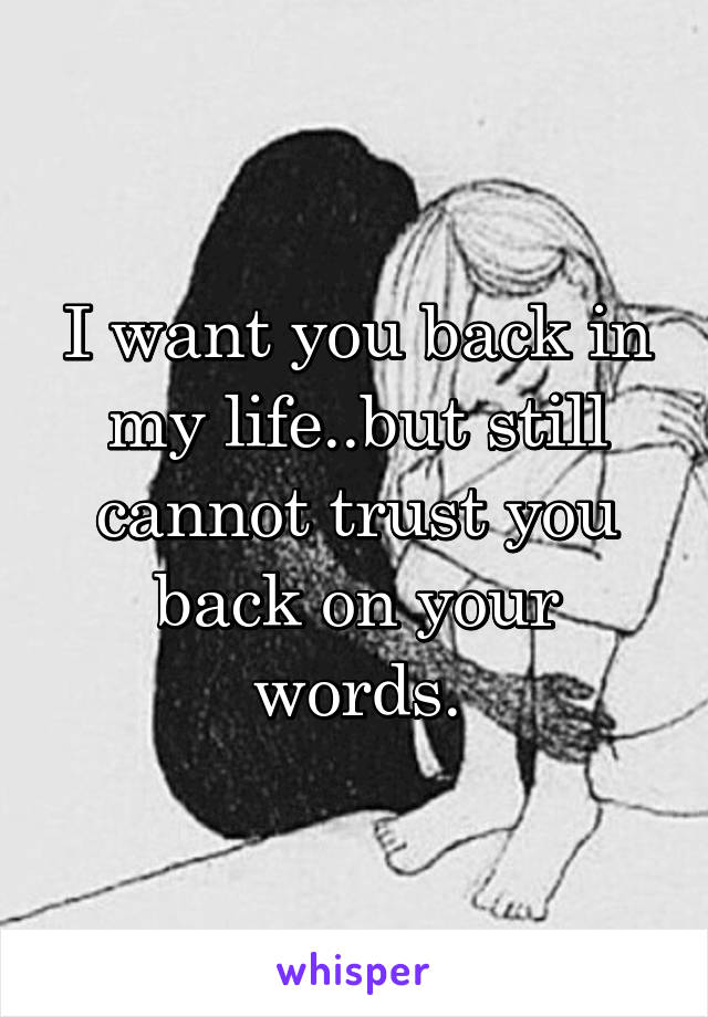 I want you back in my life..but still cannot trust you back on your words.