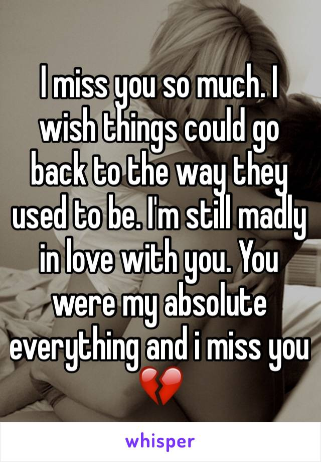 I miss you so much. I wish things could go back to the way they used to be. I'm still madly in love with you. You were my absolute everything and i miss you 💔