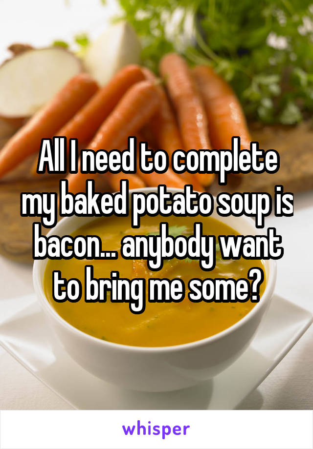All I need to complete my baked potato soup is bacon... anybody want to bring me some?