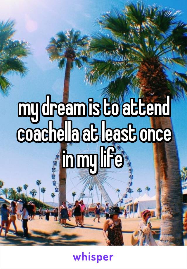 my dream is to attend coachella at least once in my life