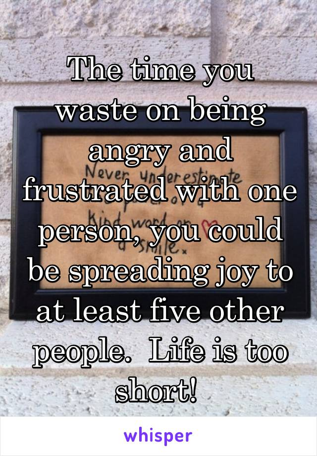 The time you waste on being angry and frustrated with one person, you could be spreading joy to at least five other people.  Life is too short!