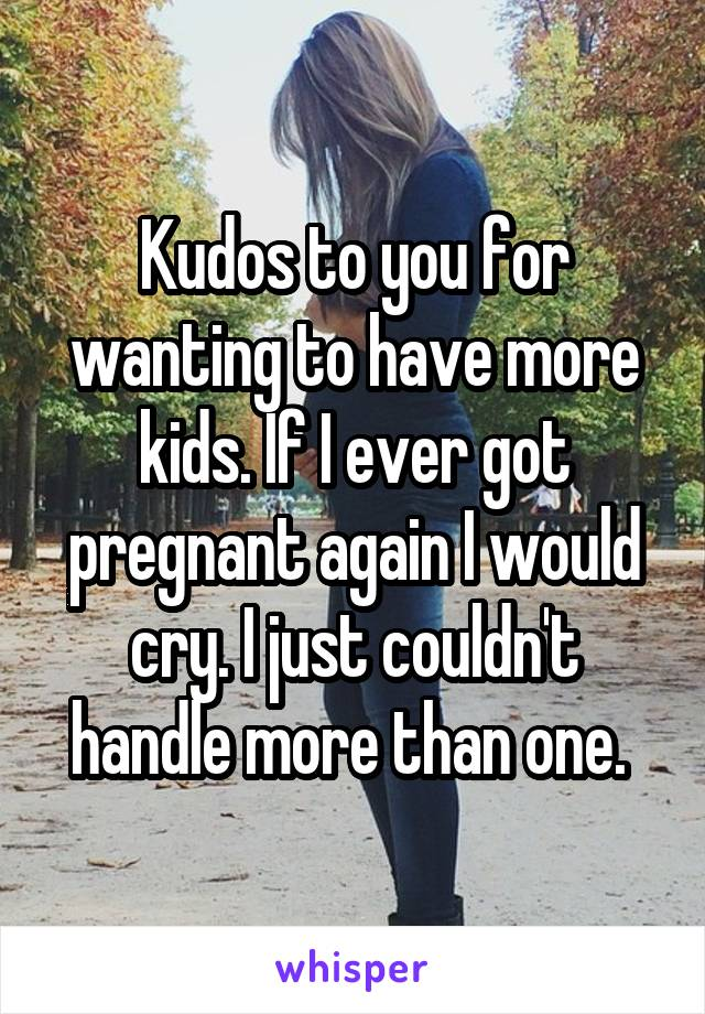 Kudos to you for wanting to have more kids. If I ever got pregnant again I would cry. I just couldn't handle more than one.