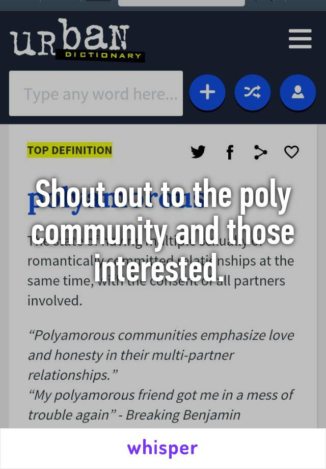 Shout out to the poly community and those interested.