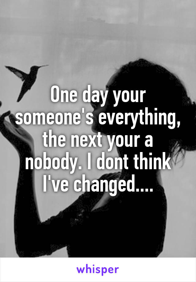 One day your someone's everything, the next your a nobody. I dont think I've changed....