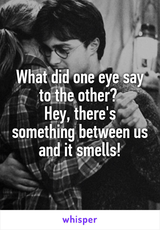 What did one eye say to the other?  Hey, there's something between us and it smells!
