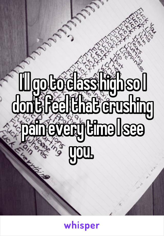 I'll go to class high so I don't feel that crushing pain every time I see you.