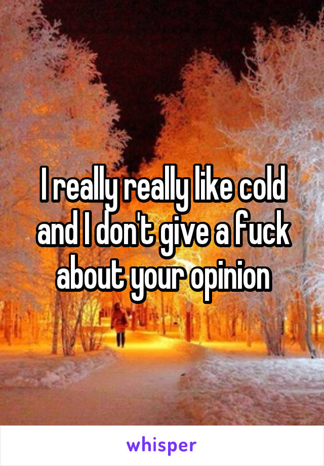 I really really like cold and I don't give a fuck about your opinion