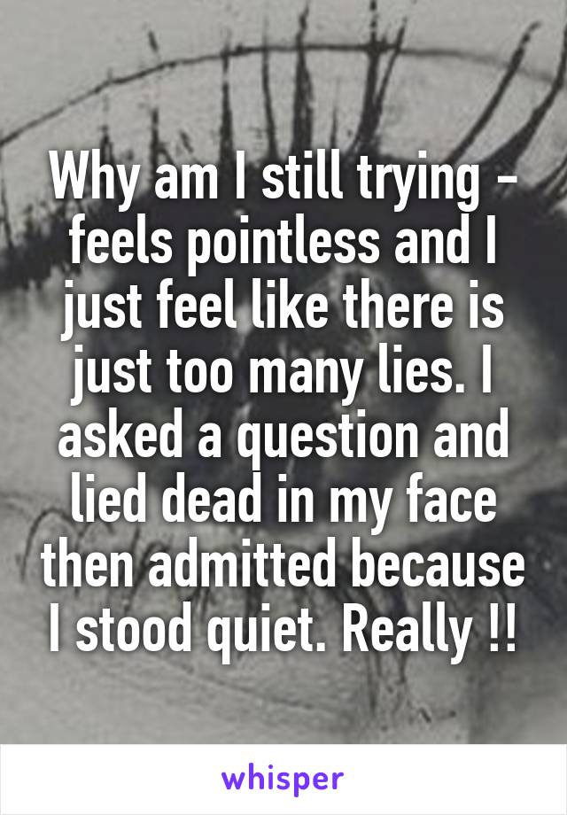 Why am I still trying - feels pointless and I just feel like there is just too many lies. I asked a question and lied dead in my face then admitted because I stood quiet. Really !!