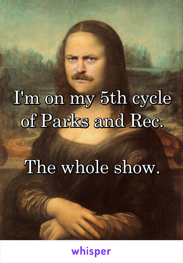 I'm on my 5th cycle of Parks and Rec.  The whole show.
