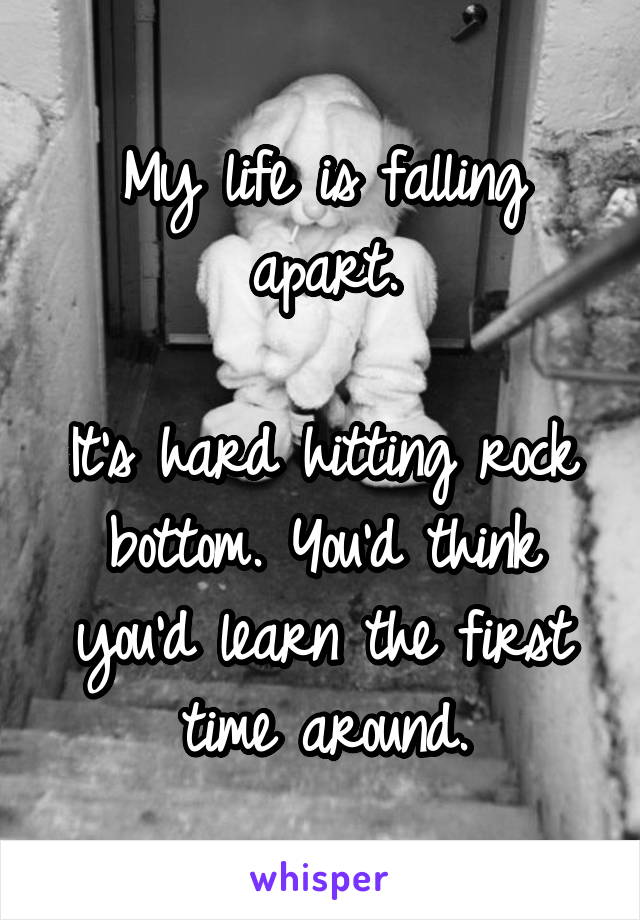 My life is falling apart.  It's hard hitting rock bottom. You'd think you'd learn the first time around.