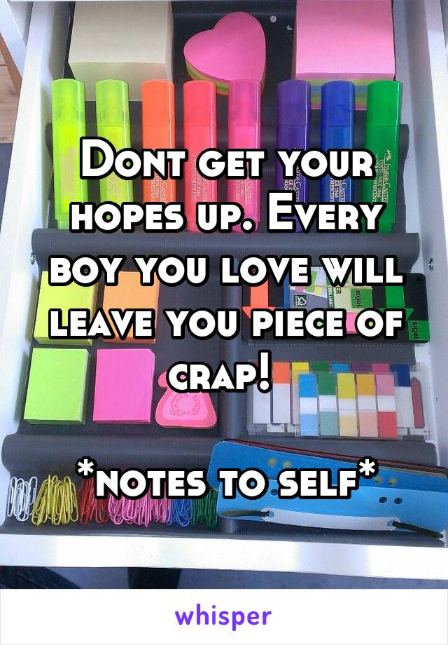 Dont get your hopes up. Every boy you love will leave you piece of crap!   *notes to self*