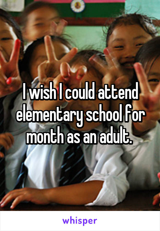 I wish I could attend elementary school for month as an adult.