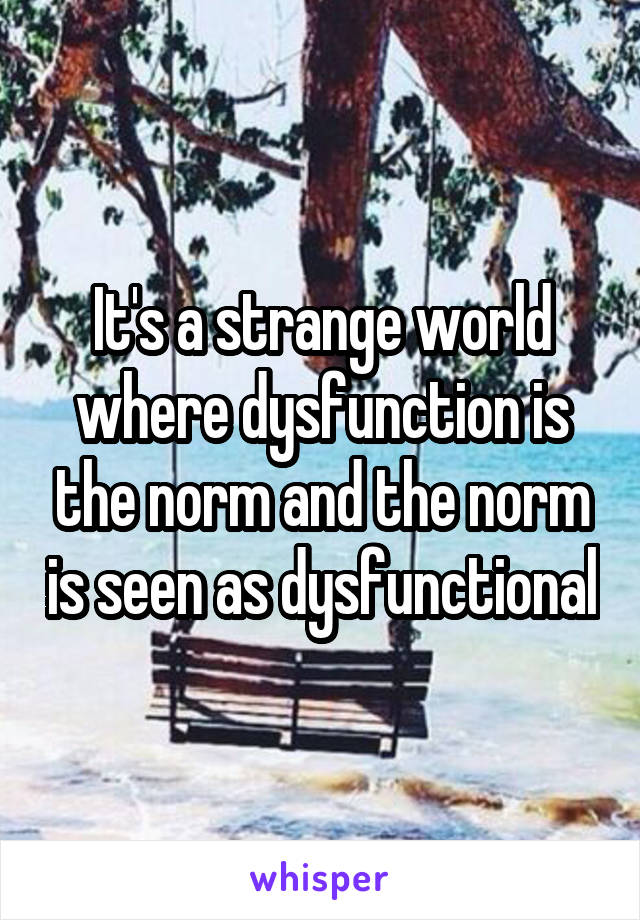 It's a strange world where dysfunction is the norm and the norm is seen as dysfunctional