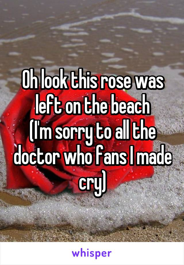 Oh look this rose was left on the beach (I'm sorry to all the doctor who fans I made cry)