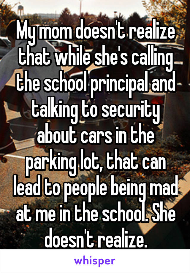 My mom doesn't realize that while she's calling the school principal and talking to security about cars in the parking lot, that can lead to people being mad at me in the school. She doesn't realize.