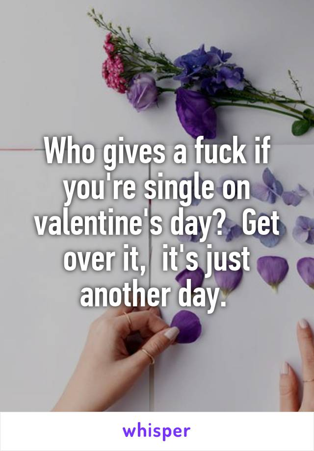 Who gives a fuck if you're single on valentine's day?  Get over it,  it's just another day.