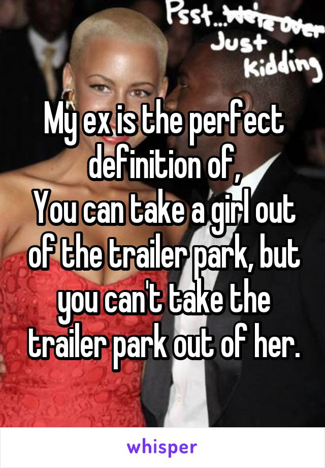 My ex is the perfect definition of, You can take a girl out of the trailer park, but you can't take the trailer park out of her.