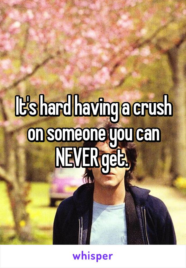 It's hard having a crush on someone you can NEVER get.