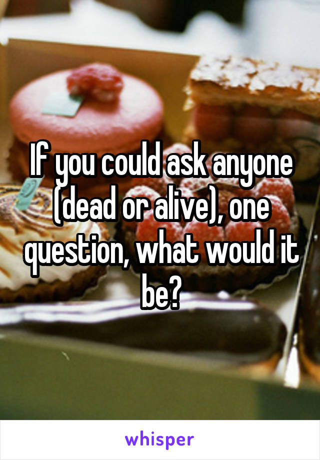 If you could ask anyone (dead or alive), one question, what would it be?