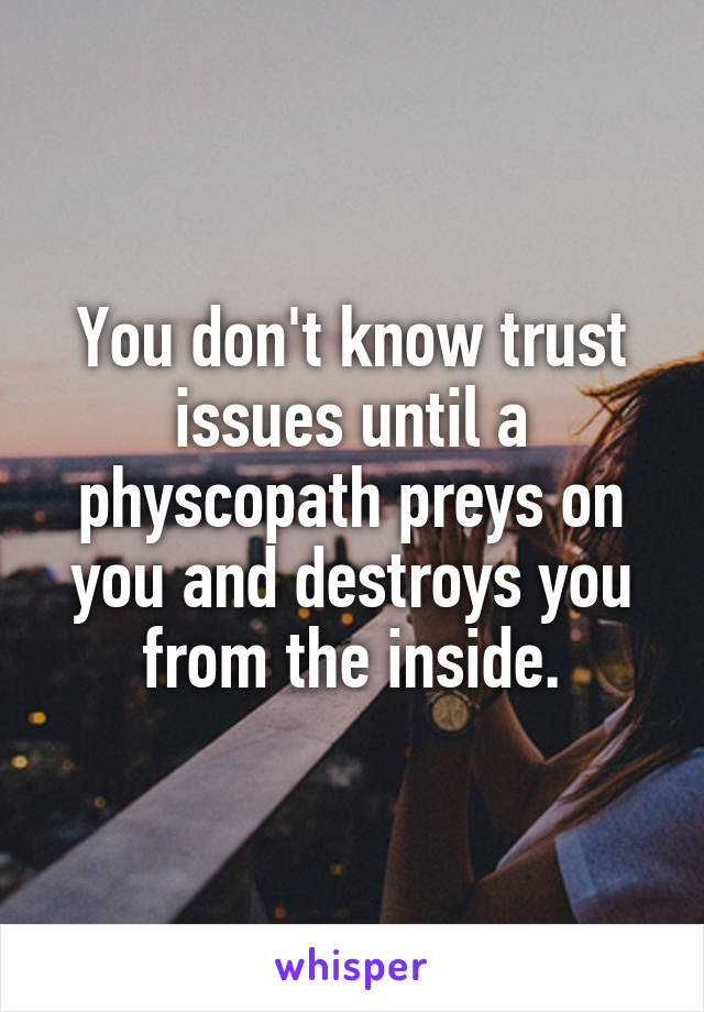 You don't know trust issues until a physcopath preys on you and destroys you from the inside.