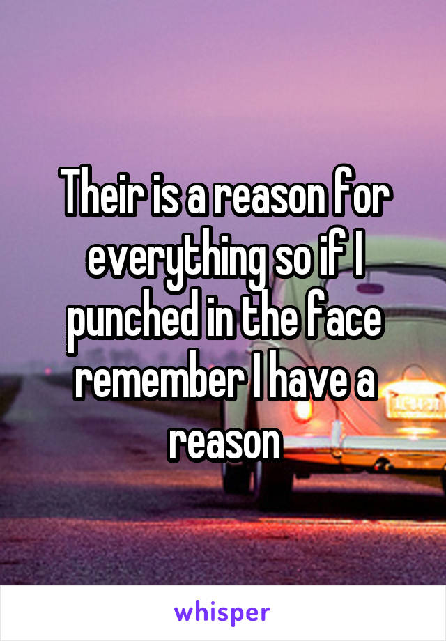 Their is a reason for everything so if I punched in the face remember I have a reason
