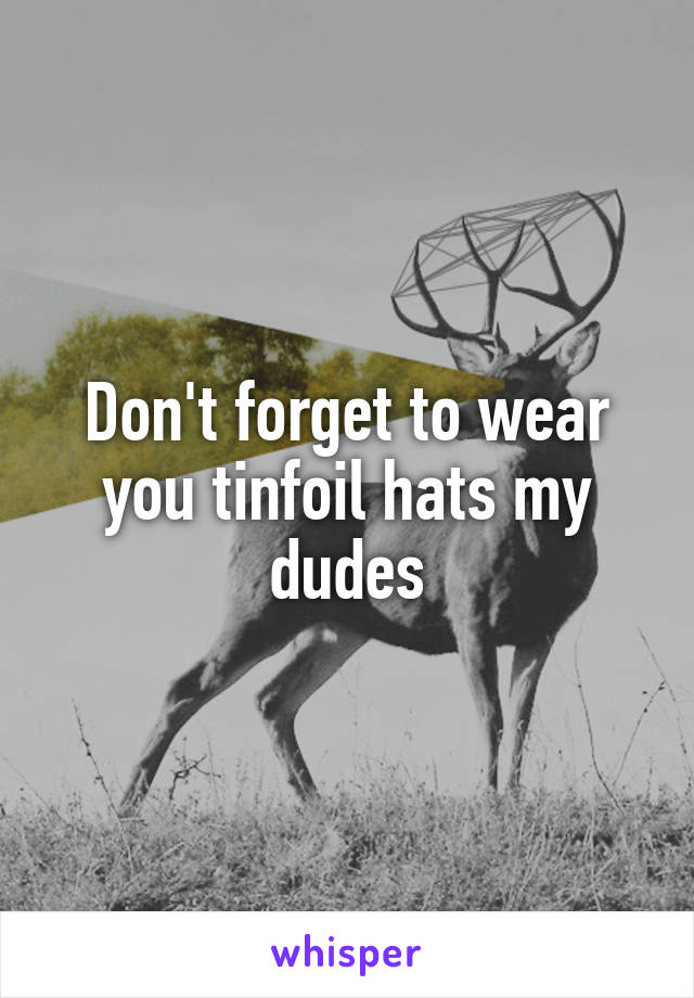 Don't forget to wear you tinfoil hats my dudes