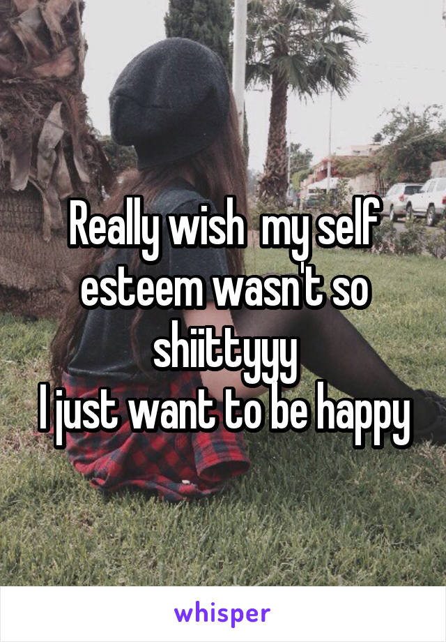 Really wish  my self esteem wasn't so shiittyyy I just want to be happy