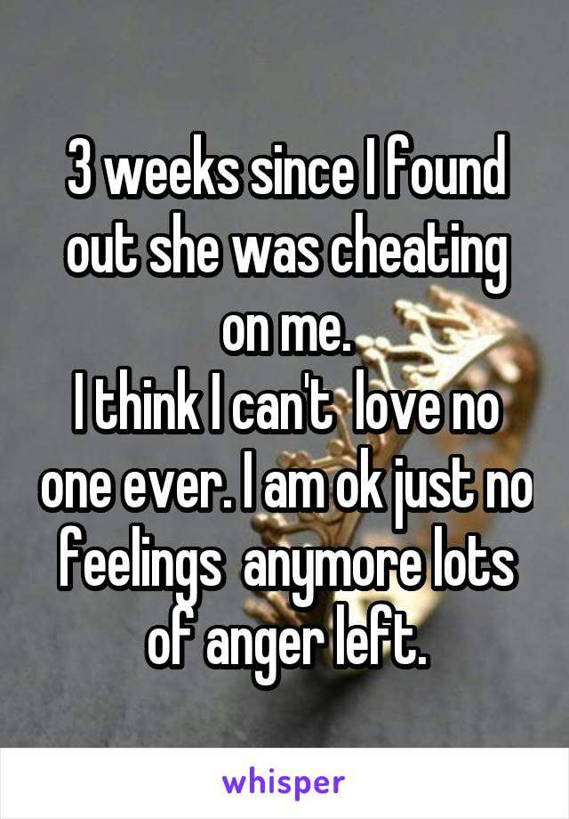 3 weeks since I found out she was cheating on me. I think I can't  love no one ever. I am ok just no feelings  anymore lots of anger left.