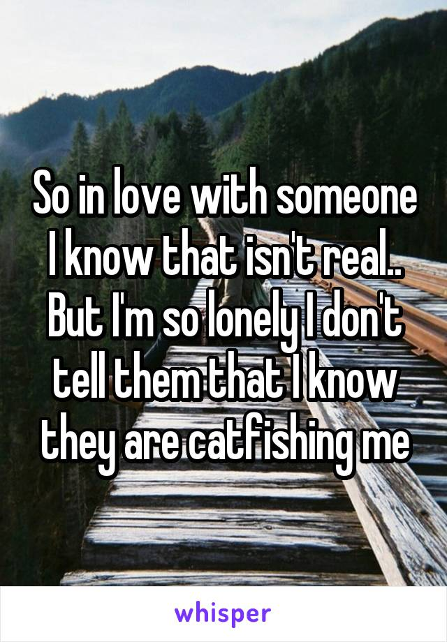 So in love with someone I know that isn't real.. But I'm so lonely I don't tell them that I know they are catfishing me