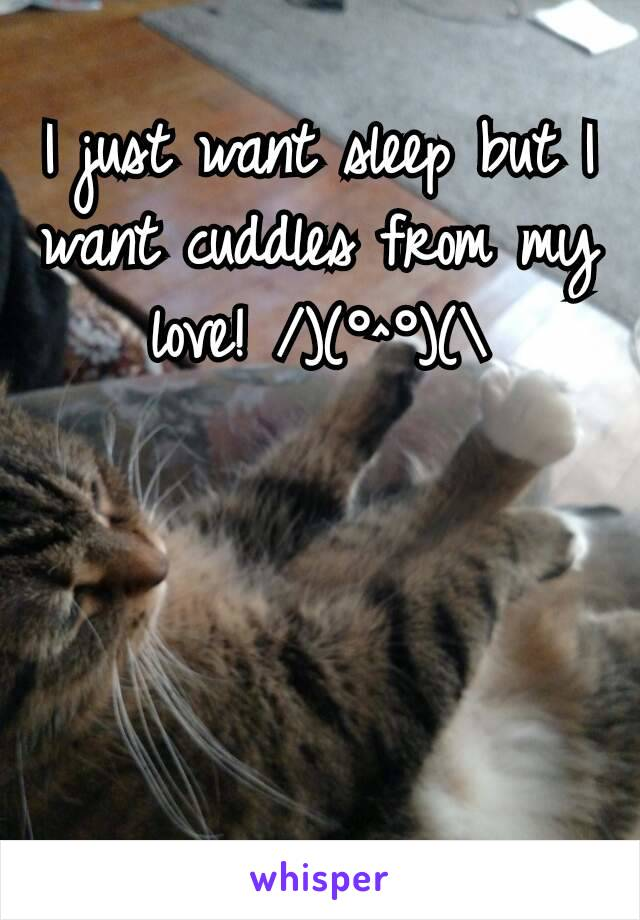 I just want sleep but I want cuddles from my love! /)(°^°)(\