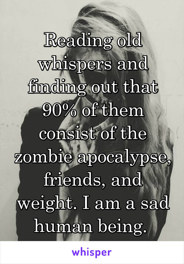Reading old whispers and finding out that 90% of them consist of the zombie apocalypse, friends, and weight. I am a sad human being.