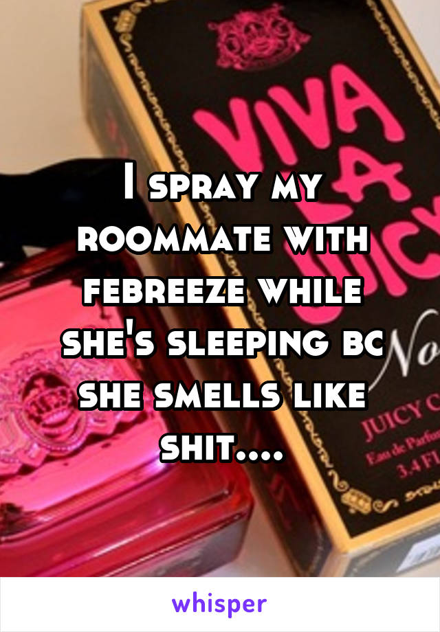 I spray my roommate with febreeze while she's sleeping bc she smells like shit....