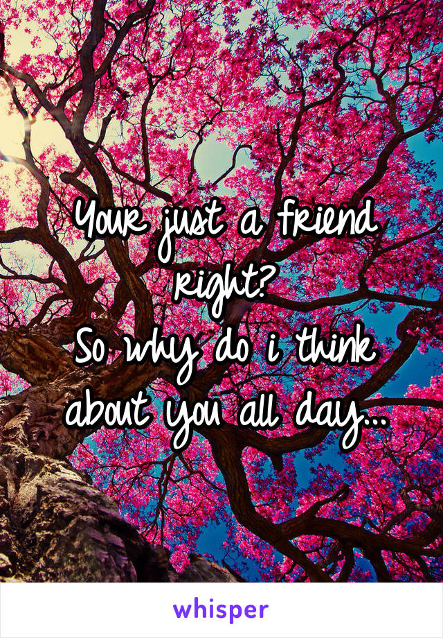 Your just a friend right? So why do i think about you all day...