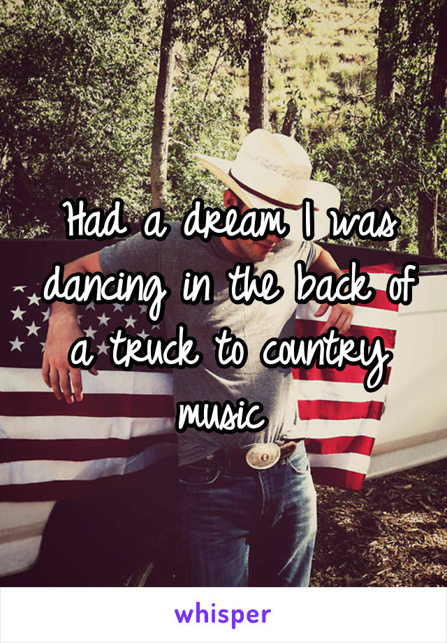 Had a dream I was dancing in the back of a truck to country music