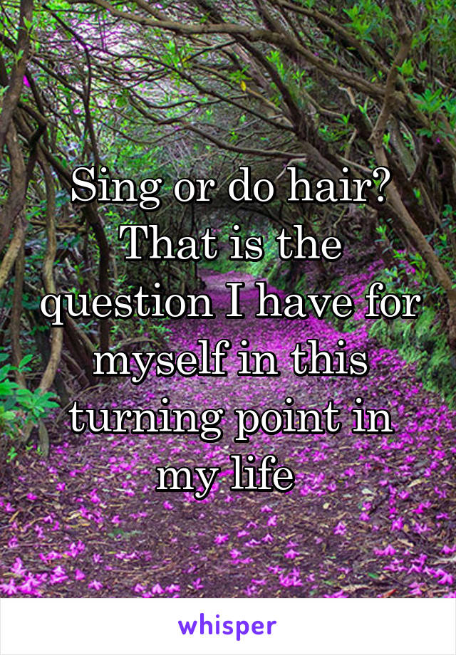 Sing or do hair? That is the question I have for myself in this turning point in my life