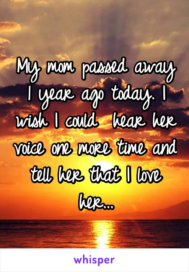 My mom passed away 1 year ago today. I wish I could  hear her voice one more time and tell her that I love her...