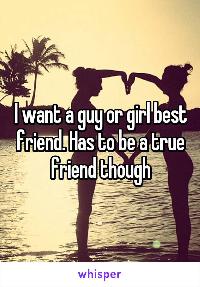 I want a guy or girl best friend. Has to be a true friend though