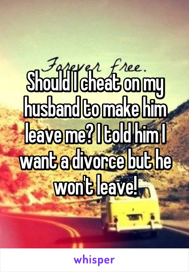 Should I cheat on my husband to make him leave me? I told him I want a divorce but he won't leave!