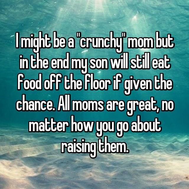"I might be a ""crunchy"" mom but in the end my son will still eat food off the floor if given the chance. All moms are great, no matter how you go about raising them. 💓"