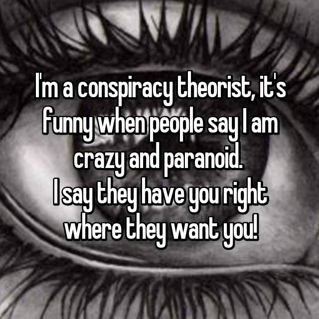 I'm a conspiracy theorist, it's funny when people say I am crazy and paranoid.  I say they have you right where they want you!