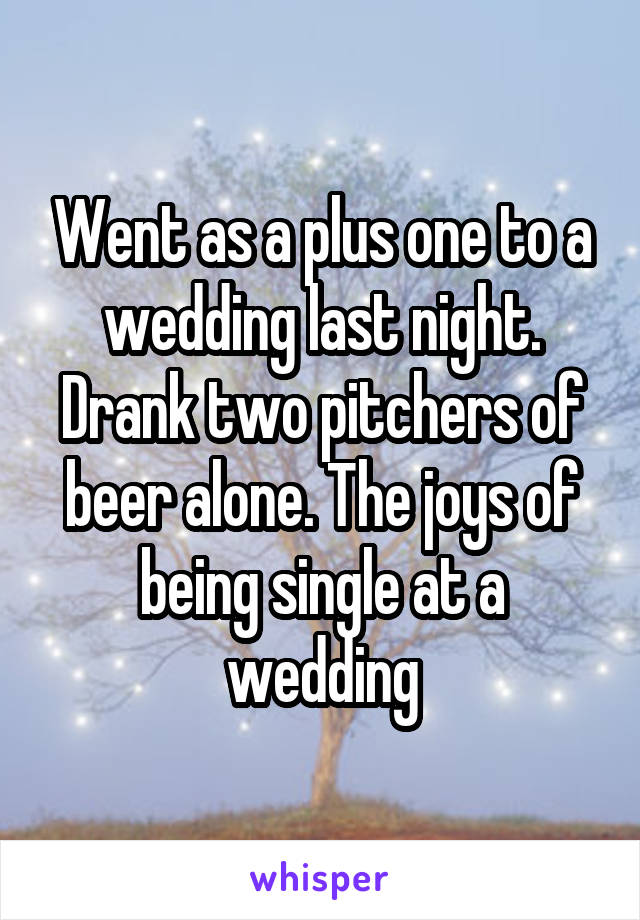 Went as a plus one to a wedding last night. Drank two pitchers of beer alone. The joys of being single at a wedding