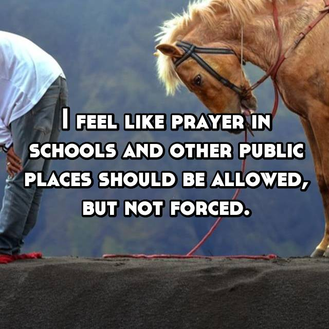 I feel like prayer in schools and other public places should be allowed, but not forced.