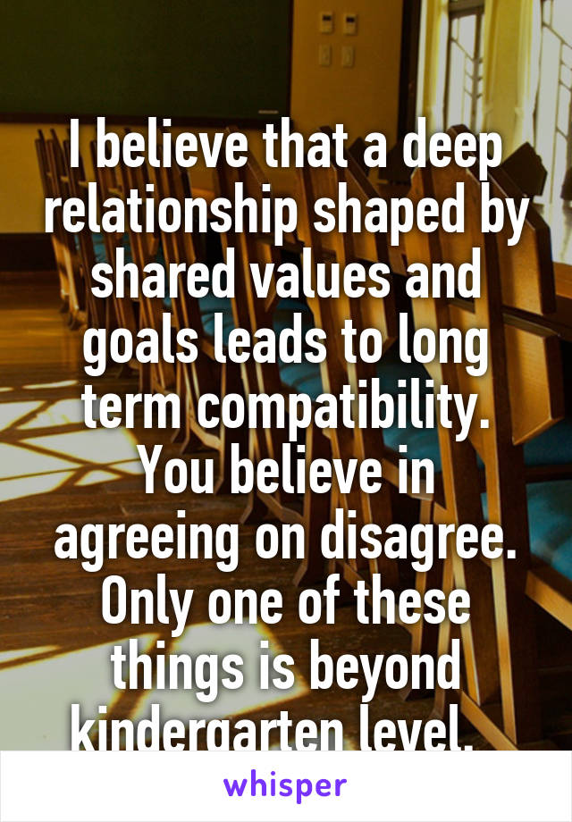 Shared values in a relationship