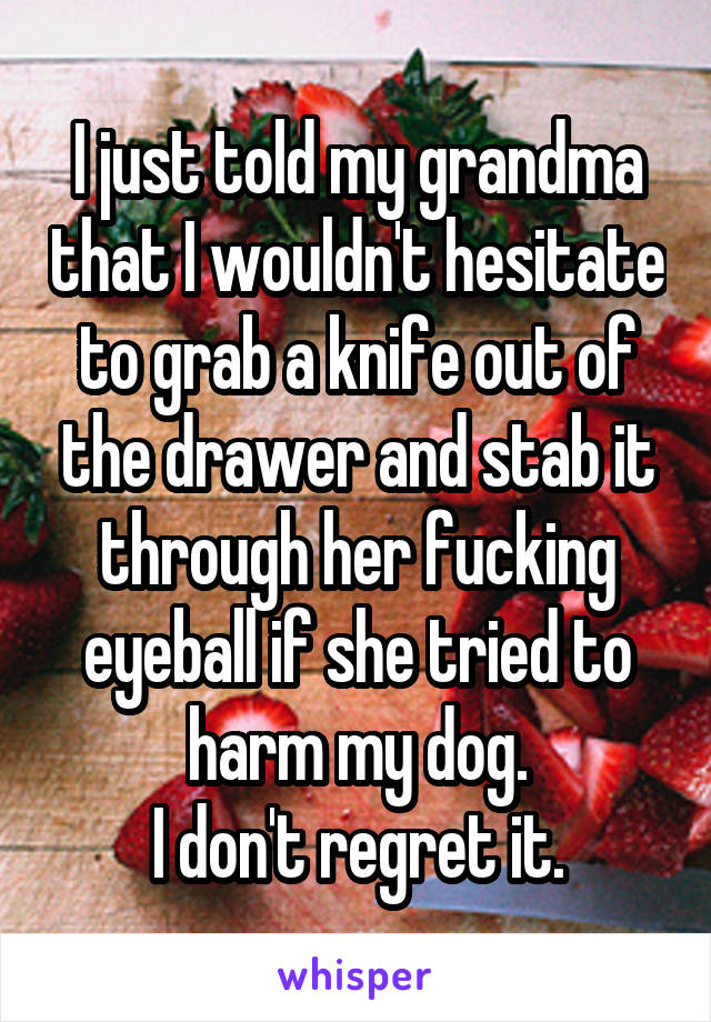 I just told my grandma that I wouldn't hesitate to grab a knife out of the drawer and stab it through her fucking eyeball if she tried to harm my dog. I don't regret it.
