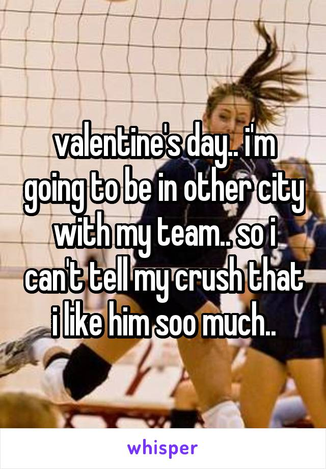 valentine's day.. i'm going to be in other city with my team.. so i can't tell my crush that i like him soo much..